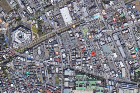 仙川駅とレストランセントバーナードの位置関係がよくわかる上空からの写真